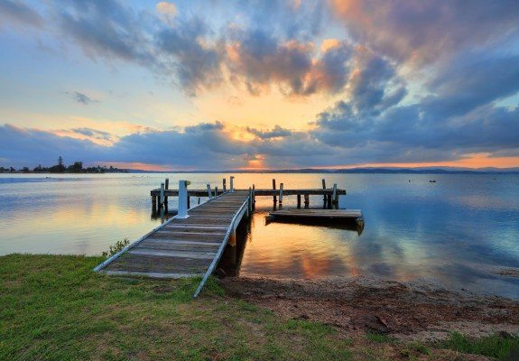 Sunset at Squids Ink Jetty Belmont on Lake Macquarie.