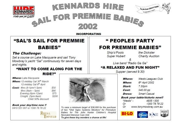 Kennards Hire Sail for Premmie Babies